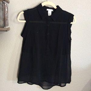 Esley Large Black Sheer Sleeveless Blouse Top